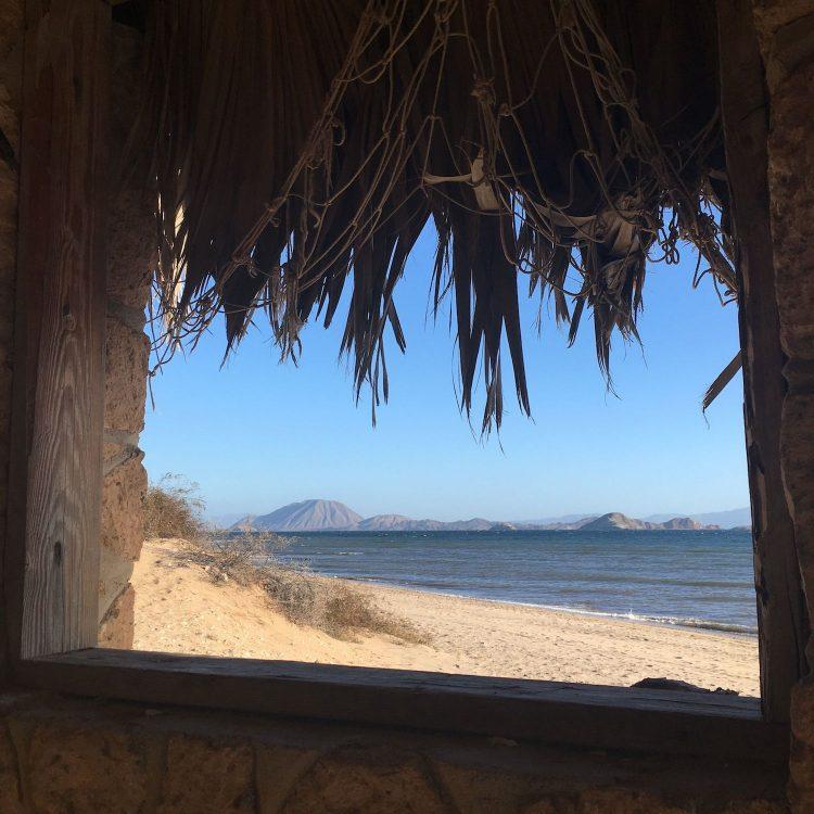 Bahía de Los Angeles through our palapa window.