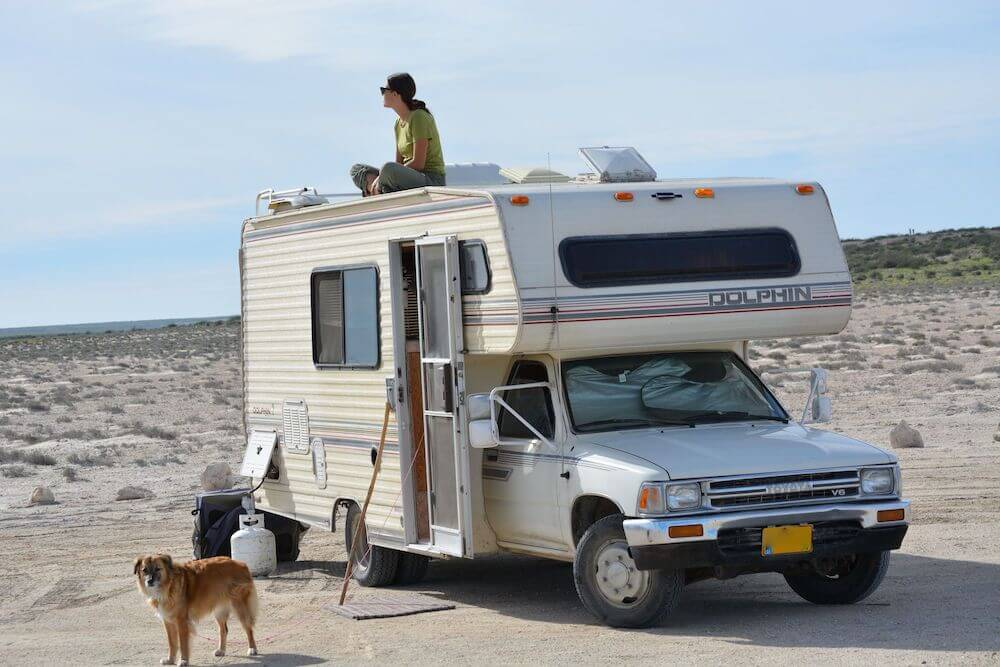 Motorhome camped in Mexico