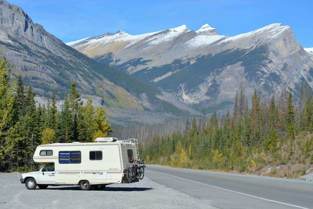 RV parked on side of scenic highway