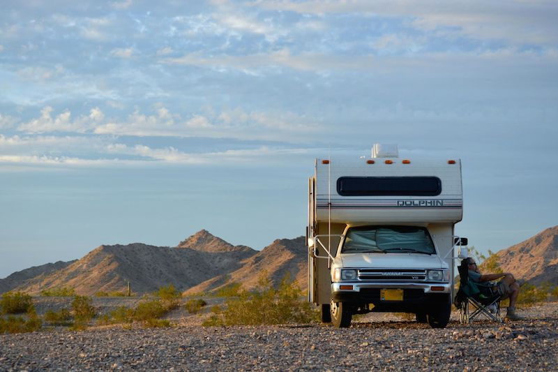RV boondocking in desert