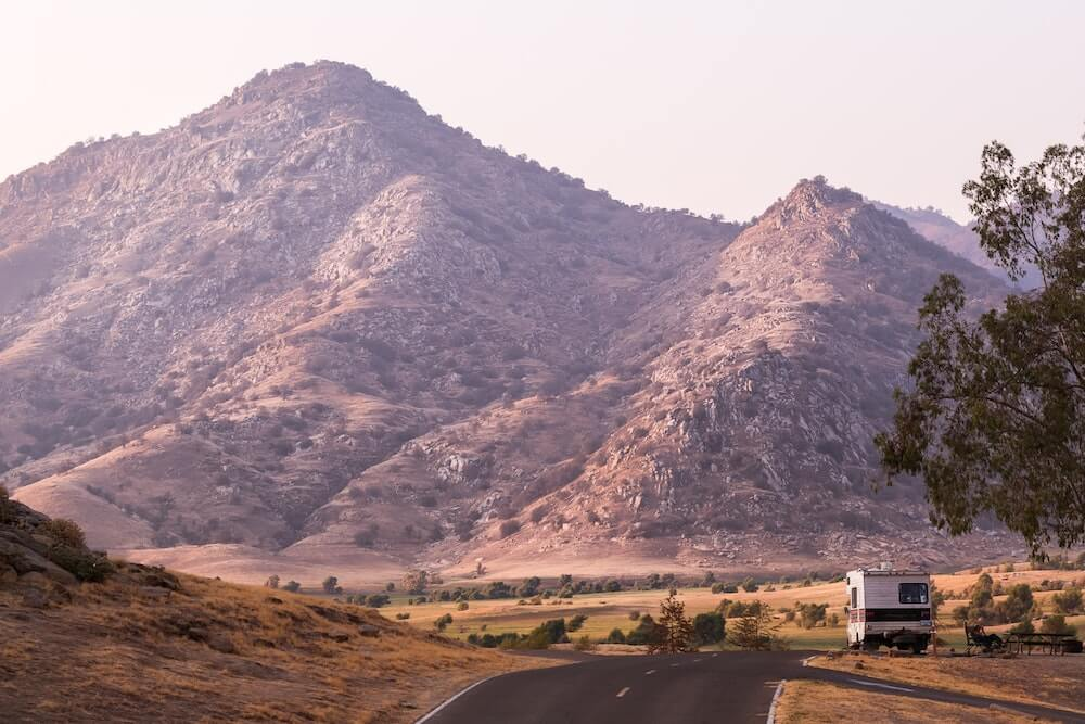 Motorhome on side of scenic road