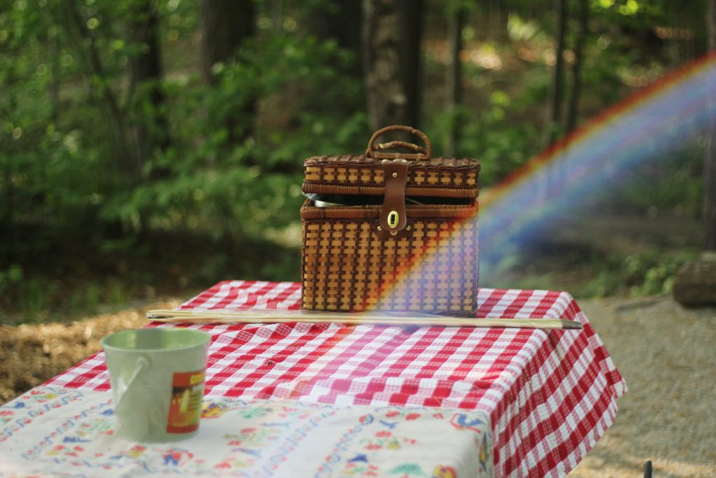 Picnic basket on a table