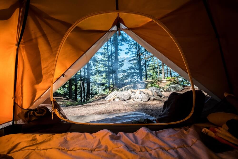 View from opening of camping tent