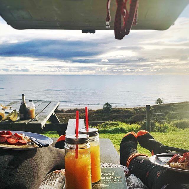 Ocean view from camper van RV