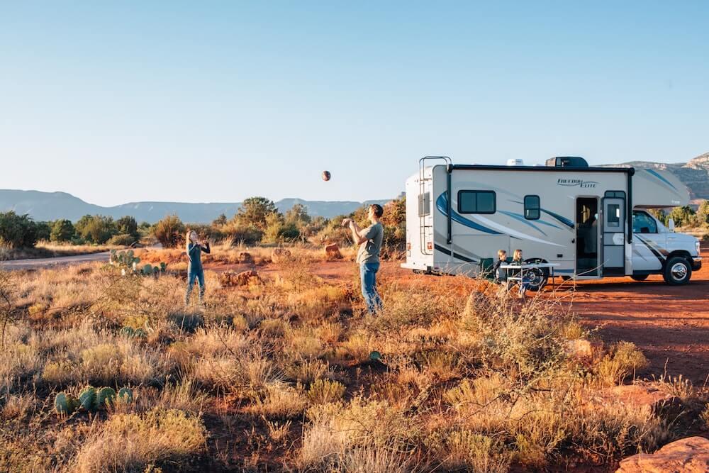USA RV Rental vehicle in USA at sunset