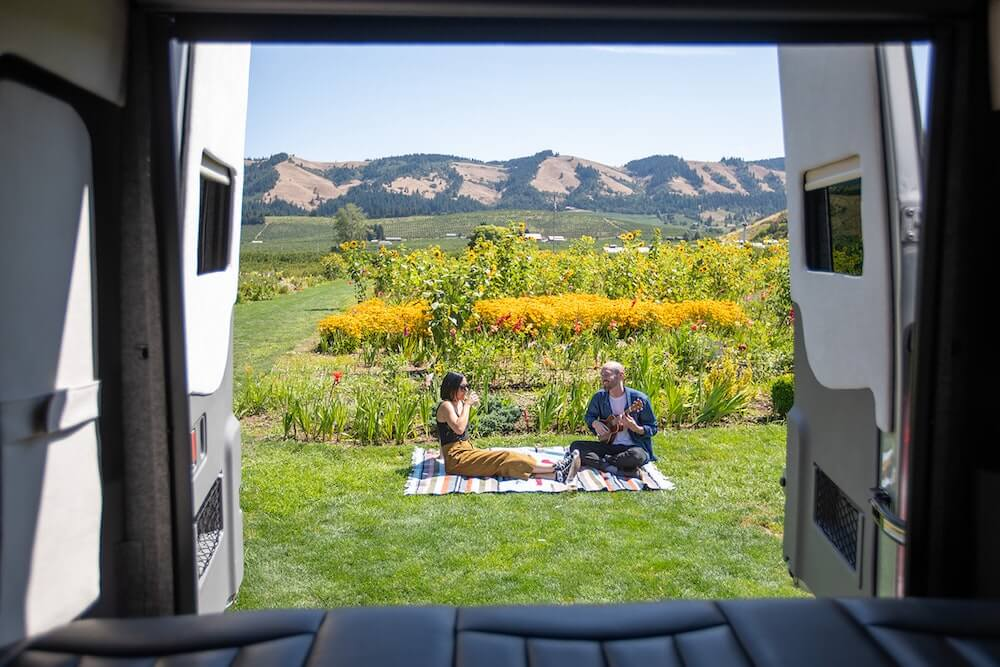 Beautiful view from back of rental RV van