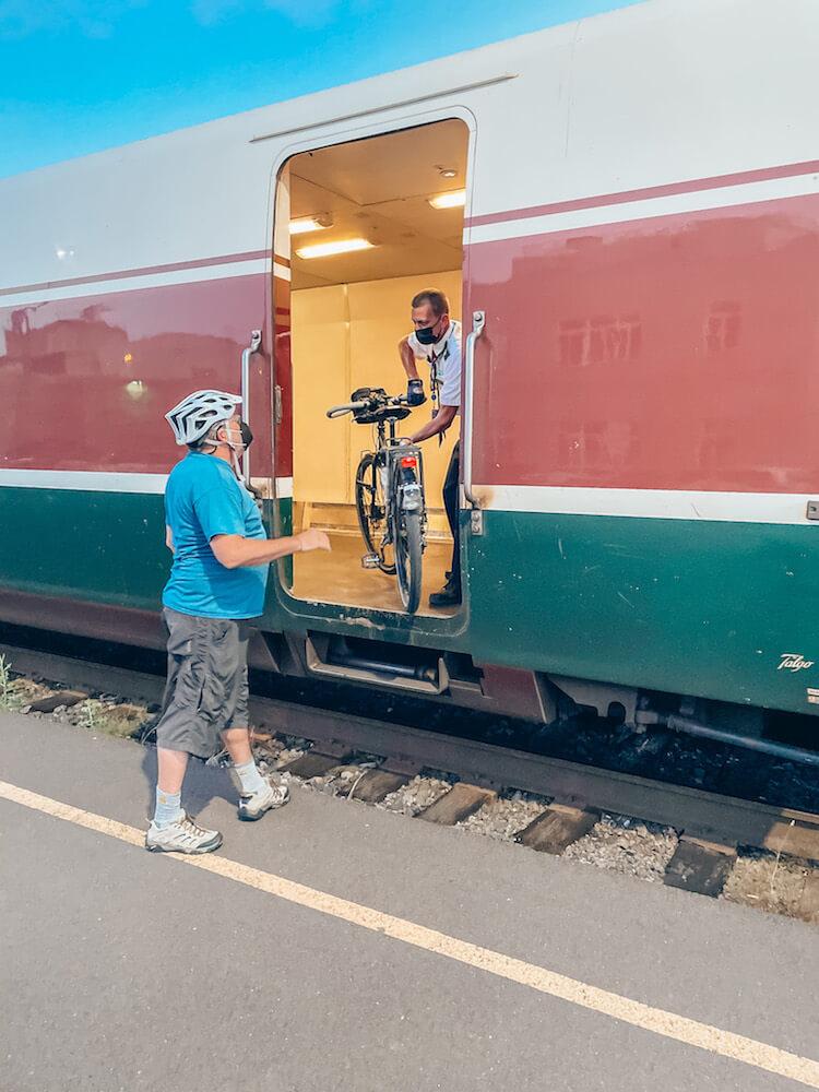 Bicycle loading onto the Amtrak train