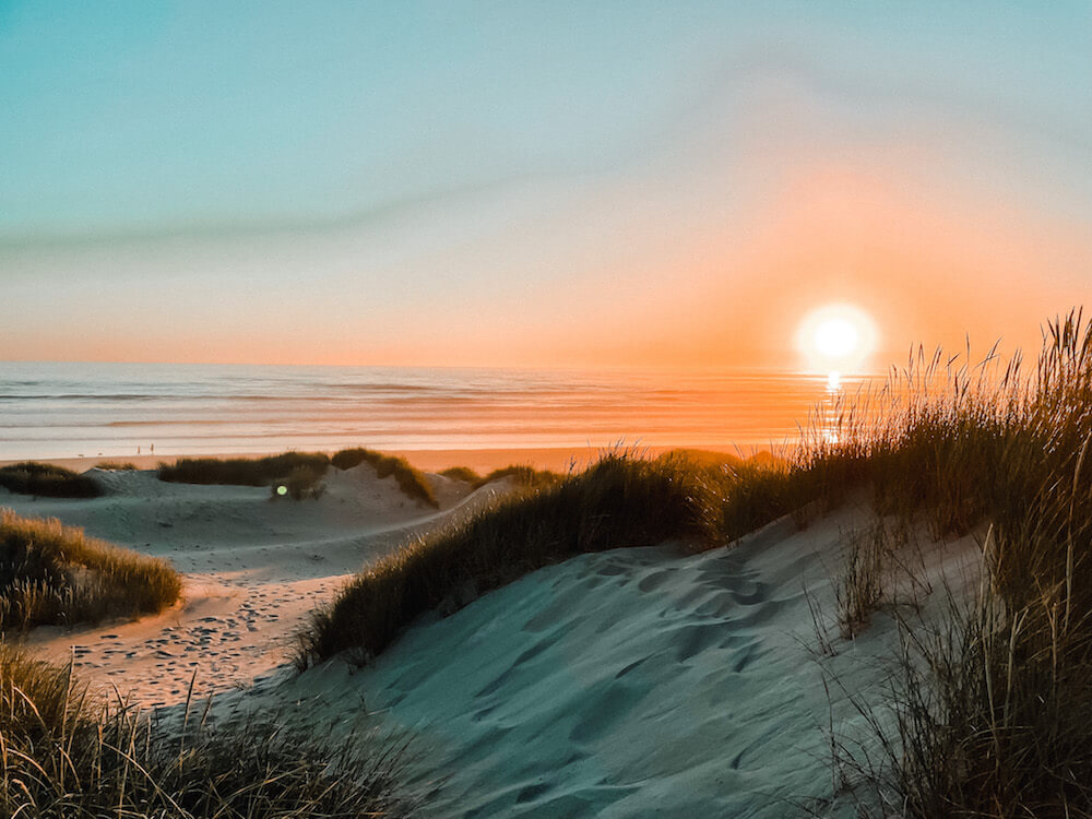 Sunset over Nehalem Bay in Oregon on the Pacific Coast