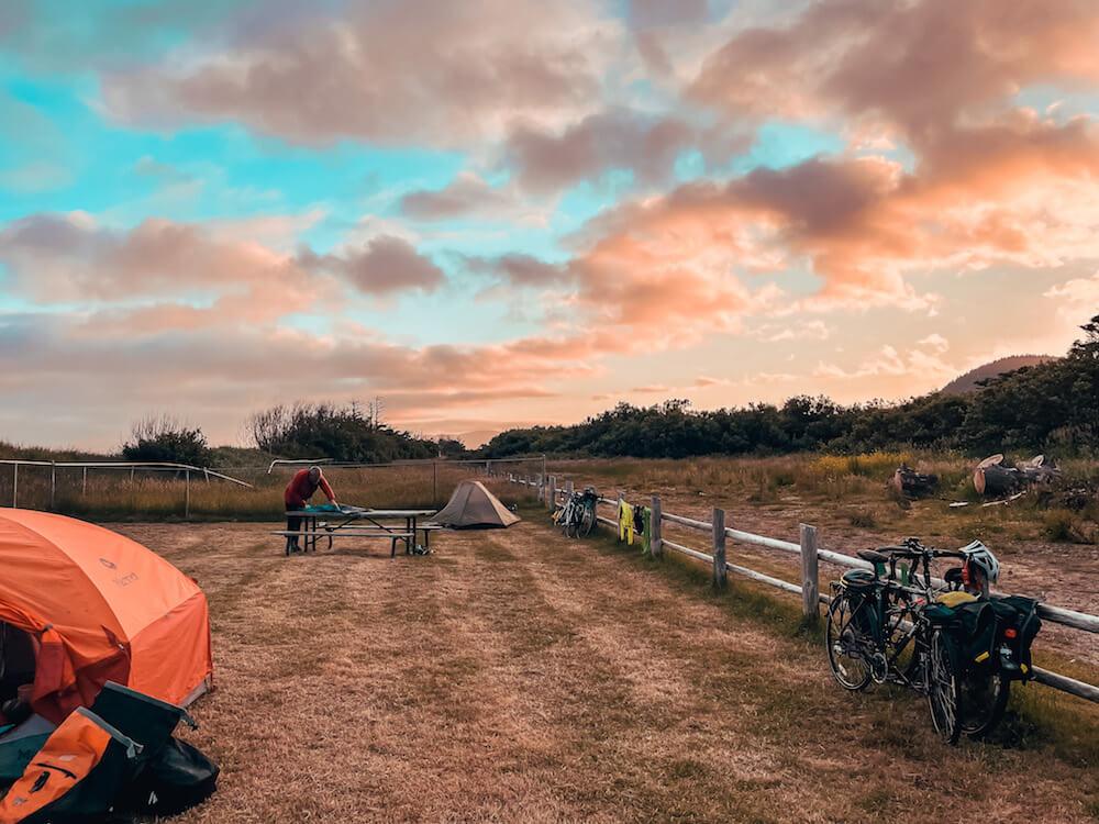 pacific coast bike route hiker biker campsite