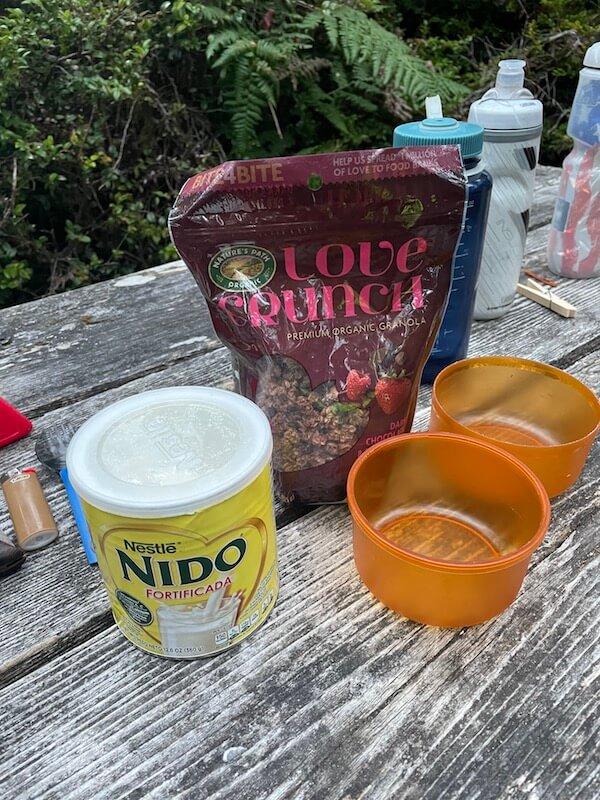 bike camping food granola and powdered milk